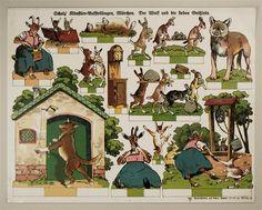 Scholz` Künstler=Aufstellbogen, Märchen. Der Wolf und die sieben Geißlein. Aufstellbilder auf dickem Papier (33x43 cm) No. 54 K.