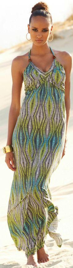 Ladies next tribal voodoo african print halterneck maxi dress - size 14