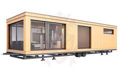 static caravan clad in wood Log Cabin Mobile Homes, Modern Mobile Homes, Single Wide Mobile Homes, Caravan Makeover, Caravan Renovation, Home Renovation, Caravan Conversion, Caravan Home, Remodeling Mobile Homes
