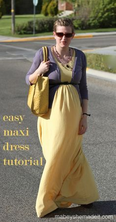 Make a full (easy!) maxi dress with this tutorial.  Maxi Dress Tutorial | Mabey She Made It | #maxidress #tutorial #upcycle #maternity