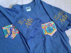 Lilly Pulitzer Fabric Pocket Sorority BIG/LITTLE Embroidered Shirt (Short Sleeve, Long Sleeve or Tank)