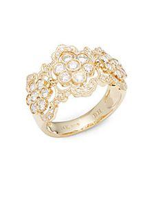 Effy - Diamond & 14K Yellow Gold Floral Ring