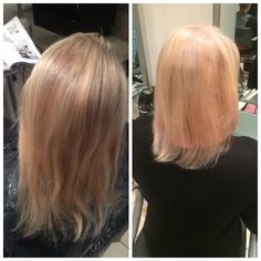 Half head of highlights with a layered cut and a volumed blowdry