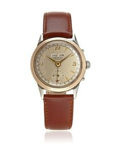 Second Time Around Watch Company Men's 1950's Croton 1950's Brown/Silver Leather Watch