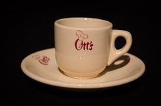 "Ott's, San Francisco, Calif.,"" the world's biggest drive-in"" Demitasse Cup & Saucer  by Wallace China, 1948 Offered by Track 16. http://www.track16.com #restaurantware #restaurantchina"