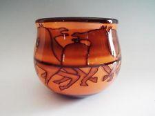 Orrefors Art Glass Graal Vase Horse Orange Brown Black RARE Jan Johansson 223-69