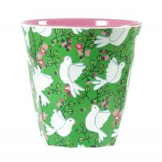 Rice Melamine Cup Two Tone with Green Dove Print Melamine, Danish Interior, Decoration Design, Tea Towels, Green Colors, Colours, Pink And Green, Planter Pots, Rice