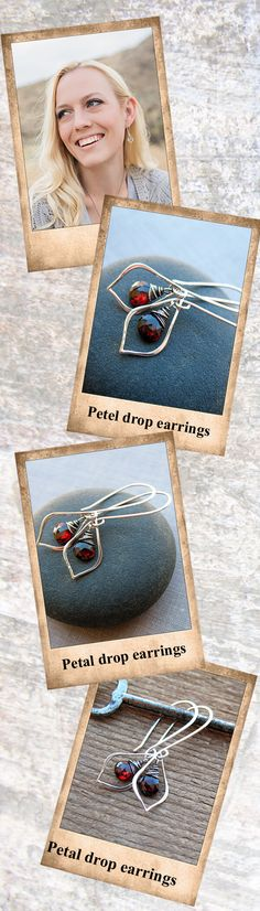 Sparkling deep red garnet drops are suspended in curvy, sterling silver petal shaped frames, perfect for every season! The stones are lovingly wrapped on the top and are complimented with elegant elongated silver ear wires.
