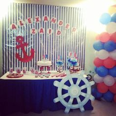Mesa de dulces baby shower fête nautique, th. Baby Shower Decorations For Boys, Baby Shower Themes, Baby Boy Shower, Sailor Party, Sailor Theme, Baby Showers Marinero, Sailor Baby Showers, Happy Birthday Jesus, Nautical Party