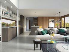 DOM.PL™ - Projekt domu DZW Odważny 2 CE - DOM DW1-90 - gotowy koszt budowy Modern House Design, New Homes, Cottage, Interior, Table, Furniture, Samara, Park, Home Decor