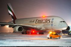 Emirates Airbus A380-861 A6-EES pushing back in snowy conditions at Moscow-Domodedovo, January 2016. (Photo: Alexander Shukhov)