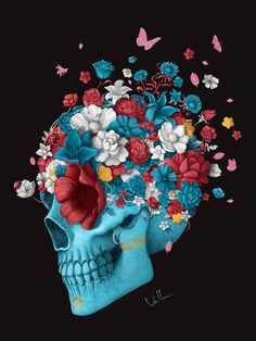Flower Skull Diamond Painting Embroidery Diy Cross Stitch Craft Home Decor & Garden Arte Com Grey's Anatomy, Anatomy Art, Sugar Skull Tattoos, Sugar Skull Art, Sugar Skulls, Candy Skulls, Totenkopf Tattoos, Day Of The Dead Art, Skeleton Art