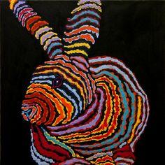 Acrylic painting of bunny rabbit by turvytopsy on Etsy, $207.00