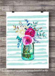 Printable art | Spring Watercolor flowers bouquet print | Watercolor decor art print | Mason jar floral Printable wall art | Watercolor 16x20 print, easily resized to 8x10 and fine to print at A3 or A4. MADE WITH LOVE ♥ ____________________________ Print as many times as you like,