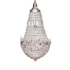 Люстра подвесная на цепи, декорированная бисером и стеклом