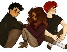Harry + Hermione + Ron by lilabeanz
