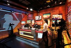 Explore photos of MLB Network Studio K's TV set design in this interactive gallery of the studio. Tv Set Design, Stage Design, Mlb, Liquor Cabinet, Studio, Gallery, Sport, Home Decor, Set Design