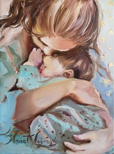 Mother Daughter Art, Mother Art, Oil Painting On Canvas, Painting & Drawing, Canvas Art, Canvas Size, Baby Hug, Baby Drawing, Portrait Art