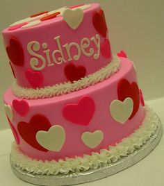 Cute Valentine's Day Cake using Fondant Heart Cut Outs...
