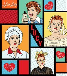 I Love Lucy Pop Art Cotton Fabric