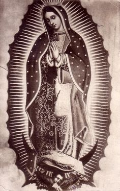 A Mexican postcard from 1927 of Our Lady of Guadalupe.