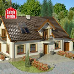 Dom przy Alabastrowej 16 wyróżnia się regularnymi kształtami i dobrze wyważonymi proporcjami. Wykończenie elementów elewacji w ciepłych barwach i duże przeszklenia wpływają bezpośrednio na uzyskanie odczuć związanych z pogodnym nastrojem. Wejście do domu zaakcentowane jest lukarną i balkonem, które w zestawieniu z drzwiami w układzie wertykalnym stanowią piękny element dekoracyjny. Wnętrze domu to nowoczesny układ funkcjonalny odpowiedni dla współczesnego modelu życia. Home Fashion, Exterior, Cabin, Mansions, House Styles, Home Decor, Projects, Outfits, Ideas