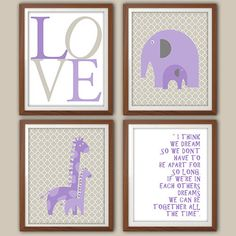 Girls Nursery Art Print  Purple And Gray Nursery by 2iNKYSQUID, $30.00