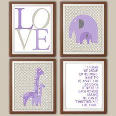 Girls Nursery Art Print  Purple And Gray Nursery by 2iNKYSQUID, $30.00