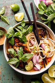 Weeknight Ginger Chicken Pho (Vietnamese Chicken Soup). - Half Baked Harvest Crispy Roasted Chicken, Miso Chicken, Ginger Chicken Soup, Bon Appetit, Easy Sesame Chicken, Kale Pasta, Asian Recipes, Ethnic Recipes, Asian Foods