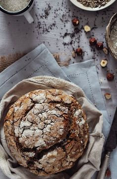 No-knead multigrain bread (buckwheat, rye and whole-wheat), crunchy crusted, nutty flavored.