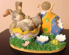 Charming Tails Silvestri After THE Hunt Sleeping Bunny Rabbit Easter EGG Snail   eBay