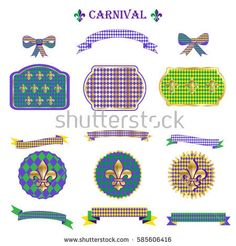 Mardi Gras Ribbon and banners, label, ribbon bow tie, frames, vintage border, garland, pattern with fleur-de-lis symbol set Carnival Festival Masquerade Decoration Set of Vintage ornament vector icons