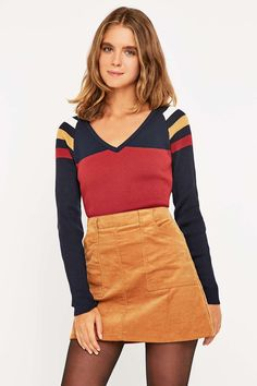 Urban Outfitters Colourblock Ribbed V-Neck Top