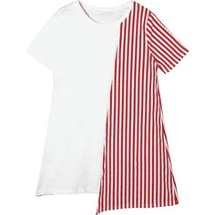 Striped Asymmetrical Mini Tee Dress (1.220 RUB) ❤ liked on Polyvore featuring dresses, stripe dress, white t-shirt dresses, tee shirt dress, striped dresses and asymmetrical dresses