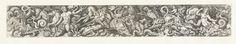 Cornelis Bos | Fries met de triomf van Neptunus, Cornelis Bos, Anonymous, Andrea Mantegna, in or after 1548 - c. 1650 | Verschillende fabeldieren zijn met elkaar verwrongen. Links rijdt Neptunus op een hippocampus, rechts een meermin met pauwenveren in haar hand.