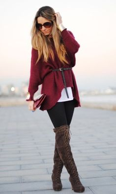 Love the lace up boots with the oversized cardigan...the belt adds the finishing touch!
