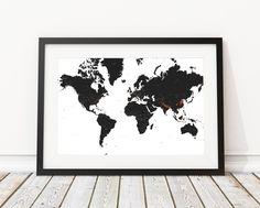 Buy Black and White world map print Online – Landmass