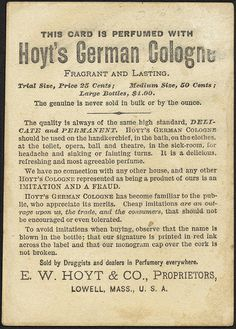 This card is perfumed with - Hoyt's German Cologne is the best [back] | Flickr - Photo Sharing!