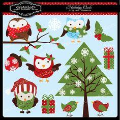 Holiday Christmas Owls Clip Art for digital por DreAmLoft en Etsy