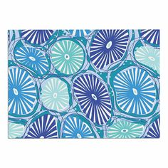 KESS InHouse Jacqueline Milton 'Sea Coral-Blue' Aqua Dog Place Mat, 13' x 18' -- See this great image  : Dog food container