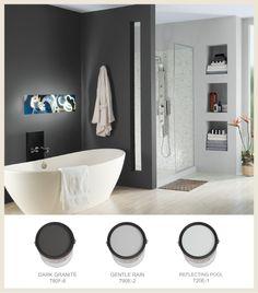 Schlafzimmerfarbe behr grau 49 New Ideas Behr Gray, Dark Gray Paint Colors, Behr Paint Colors Grey, Bedroom Paint, Bathroom Paint Colors, Painting Bathroom, Grey Accent Wall, Grey Bathrooms, Grey Paint