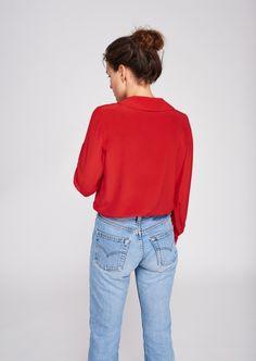 2205a4f72e251b Red silk button up femme - tara jarmon 3 Red Silk, Button Up, Tara