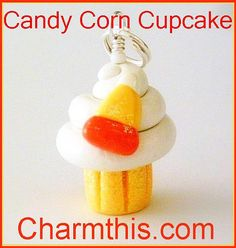 Polymer Clay Candy Corn Glitter Cupcake by CharmthisClayCharms, $3.00