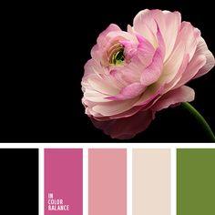 бежевый, бледно-розовый, зеленый, малиновый, насыщенный зеленый, оттенки розового, светло-розовый, тёмно-зелёный, темно-малиновый, черный, яркий розовый.