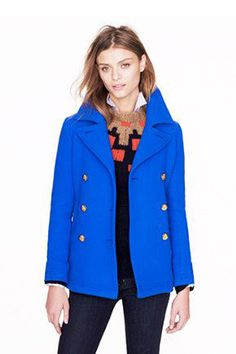 Women's Pea Coat/Reefer Jacket, Navy Blue Wool, Double Breasted ...