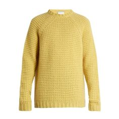 Stella McCartney Crew-neck loop-knit sweater ($609) ❤ liked on Polyvore featuring men's fashion, men's clothing, men's sweaters, yellow, mens yellow sweater, men's crewneck sweaters, mens knit sweater and mens crew neck sweaters
