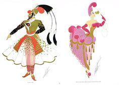Vintage ERTE Art Deco Genie / Snob Ballet Costume Book Plate Double Sided Print 1979