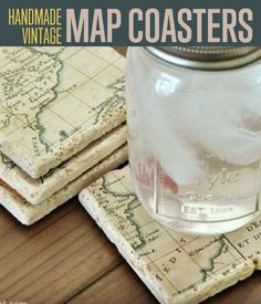 DIY Vintage Map Coasters | Travel the world with these map coasters. #DiyReady http://diyready.com/how-to-make-diy-vintage-map-coasters/: