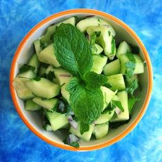 Refreshing Cucumber mint salad. Cucumbers are a good source of B vitamins for a quick pick me-up.  Rehydrates the body and replenishes daily vitamins. My 11 yr old Ethan asked for seconds although he mentioned next to reduce the red onion or omit it. The dressing has a tangy sour taste.  Recipe will be posted in my website.  Here are the ingredients: Cucumber mint parsley red onion coconut vinegar olive oil sea salt or herbamare . . . . . #cucumber #gethealthy #coaching #hydration #athlete…