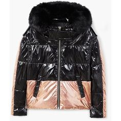 Metallic Puffer Jacket ($57) ❤ liked on Polyvore featuring outerwear, jackets, metallic jackets, metallic puffer jacket, quilted puffer jacket, zipper jacket and zip jacket